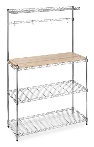 Whitmor 6054 268 Supreme Bakers Rack, Chrome And Wood