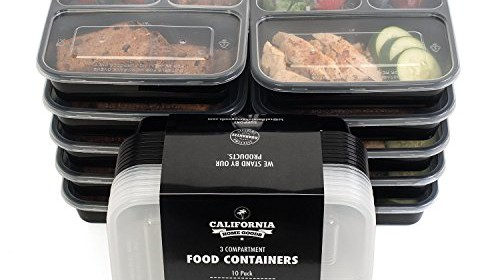 10 pack premium 3 compartment stackable meal prep containers with lids microwave dishwasher. Black Bedroom Furniture Sets. Home Design Ideas