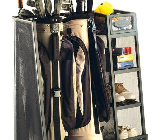 Suncast GO3216 Golf Organizer Golf Equipment Organizer For Home Storage Of Golf  Bags, Clubs, And Accessories Stores Two Golf Bags Adjustable Feet For ...